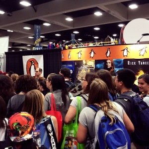 The Penguin booth during a book giveaway.